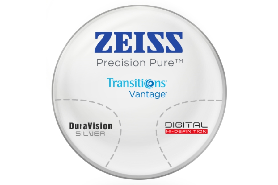 Zeiss Zeiss® Precision Pure™ Transitions® Vantage™ Polarizing Gray Polycarbonate Progressive W/ Zeiss DuraVision Silver AR Lenses in Zeiss Zeiss® Precision Pure™ Transitions® Vantage™ Polarizing Gray Polycarbonate Progressive W/ Zeiss DuraVision Silver AR Lenses